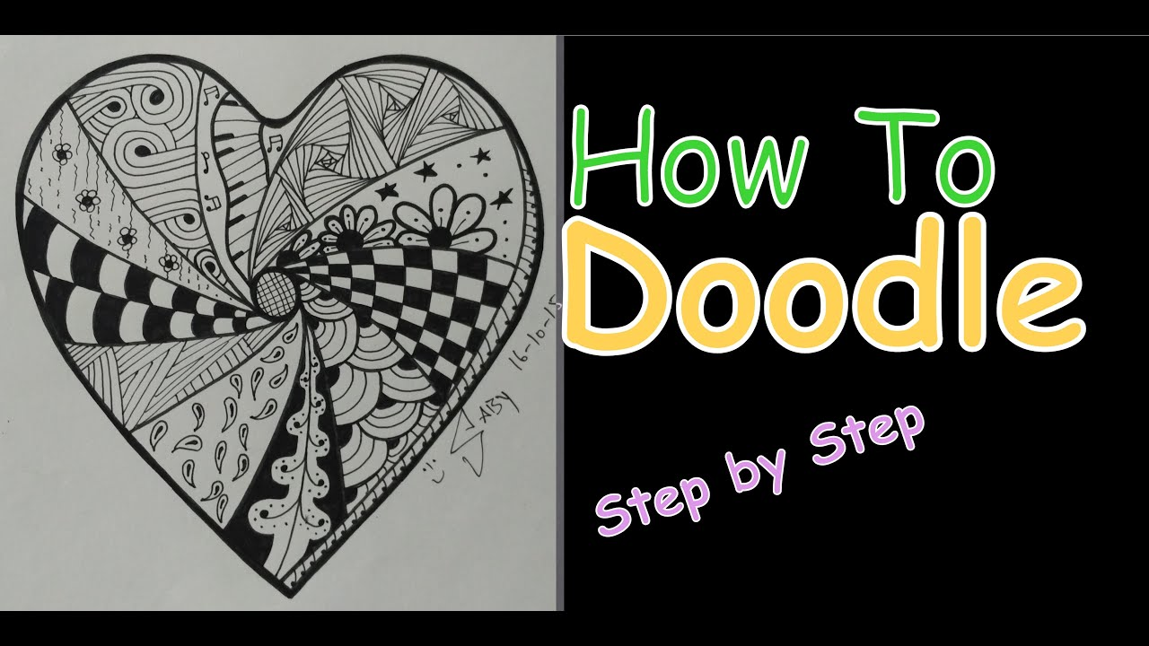 Complex Zentangle Heart For Beginners Speed Drawing Tutorial Doodle Art Step By How To Draw