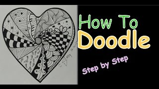 Complex Zentangle Heart for Beginners Speed Drawing Tutorial Doodle Art Step by Step How To Draw