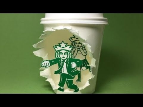 strange Illustrator Transforms Starbucks Cups Into Eye-Opening Art