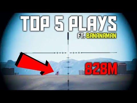 Insane 800m+ Headshots   PUBG Top 5 Plays Ft. Bananaman