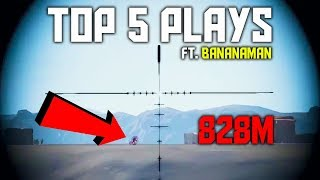 Insane 800m+ Headshots | PUBG Top 5 Plays Ft. Bananaman