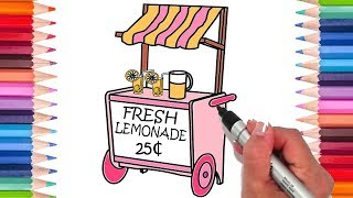 How to Draw a Lemonade Stand | Coloring Pages for Kids! | Learn to Draw!