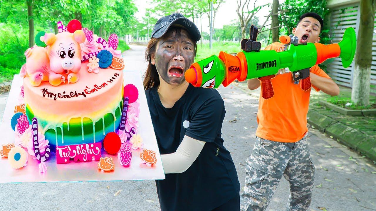 Battle Nerf War USTMAN Delivering BIRTHDAY CAKE MIX & COMPETITION Nerf Guns Fight JMan CAKE COMPILE