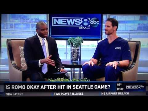 Cowboys Quarterback Tony Romo's fractured back   Dr. John Michels explains live at ABC studios