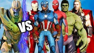 THE AVENGERS VS THANOS - Iron Man, Hulk, Spider-Man, Captain America, Thor, vs Thanos