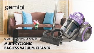 Gemini 1800W Multi-Cyclonic Bagless Vacuum Cleaner with Bedding Dust Mite Remover - Model: GVC2000