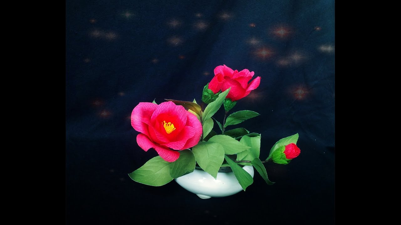 How To Make Camellia Flower From Crepe Paper Craft Tutorial Youtube
