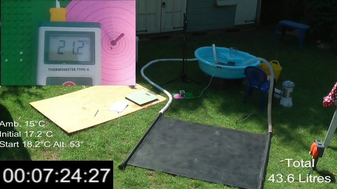Testing homemade diy solar pool heater from polycarbonate sheeting