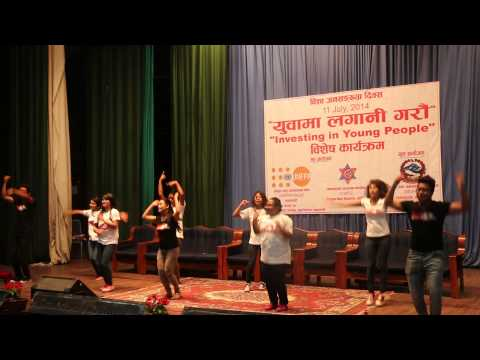 A performance by members of Dance4Life during International Youth Day celebrations organized by the Ministry of Health and Population in collaboration with the Country Office of United Nations Population Fund in Nepal (UNFPA Nepal) and CDPS/Tribhuvan Univ