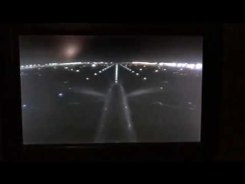 A380 Emirates take-off from DXB Dubai at night