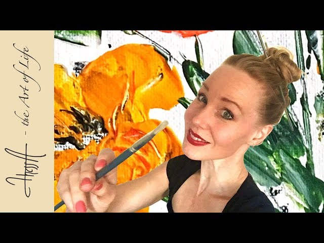 Painting tulips in acrylic with a knife - Tutorial how to paint tulips in acrylic