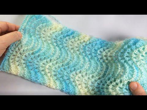 Ажурный шарф узором Old Shale / Вязание спицами
