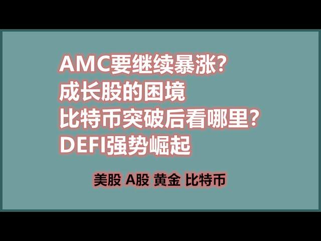 AMC要继续暴涨?成长股的困境比特币突破后看哪里?DEFI强势崛起 美股SQ/TSM/OPEN/COST/X/QS/SPG/TSLA/NIO/PLTR/AAL BTC/ETH/UNI/DOGE/ETC