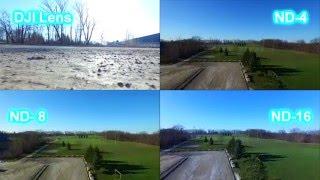 DJI Phantom 3 Polar Pro ND filter comparison. ND-4, ND-8, ND-16, Polarized