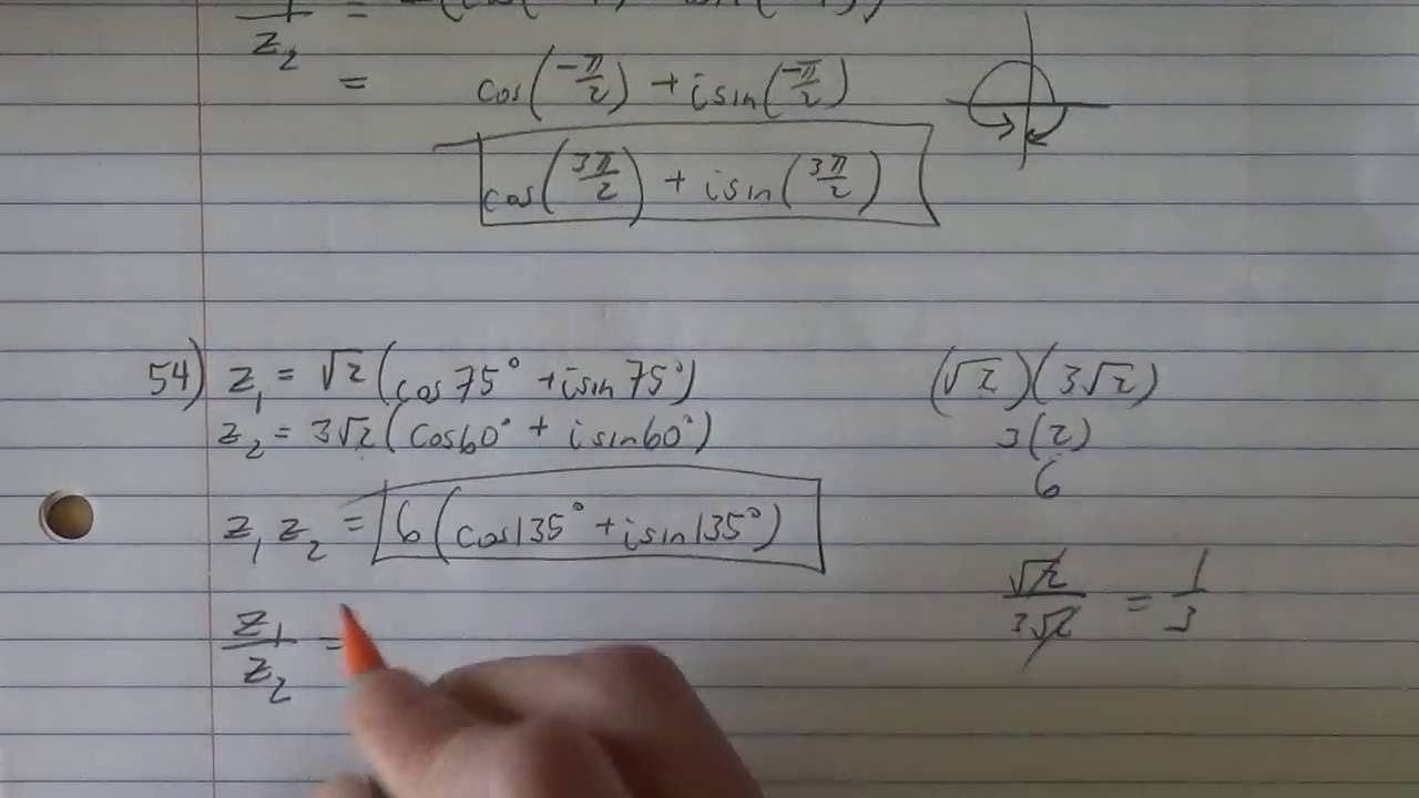 multiplying and dividing complex numbers in polar form (starting ...