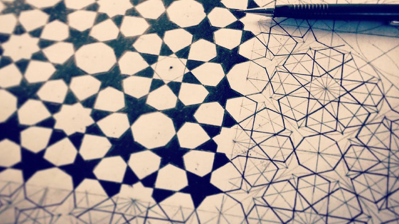 how to draw islamic geometric patterns 8 fold rozette tiling