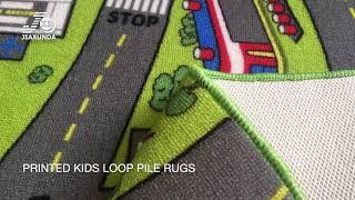 Nylon HD printed kids loop pile rugs