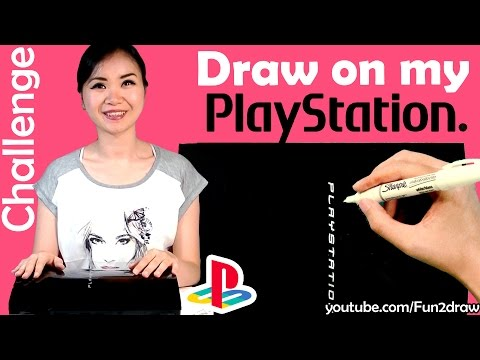 Art Video - Draw on my PlayStation with WHITE SHARPIE Challenge