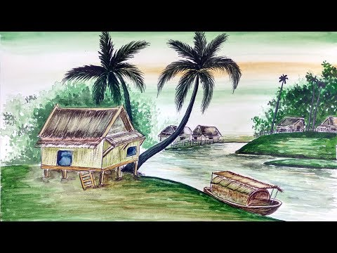 Watercolor painting for beginners easy : Village landscape easy : Step by step #07