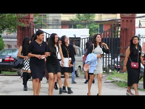 नेपाली कलेज गर्ल || Nepali collage girls in Pragya Bhawan Kamaladi || OnlineHarpal