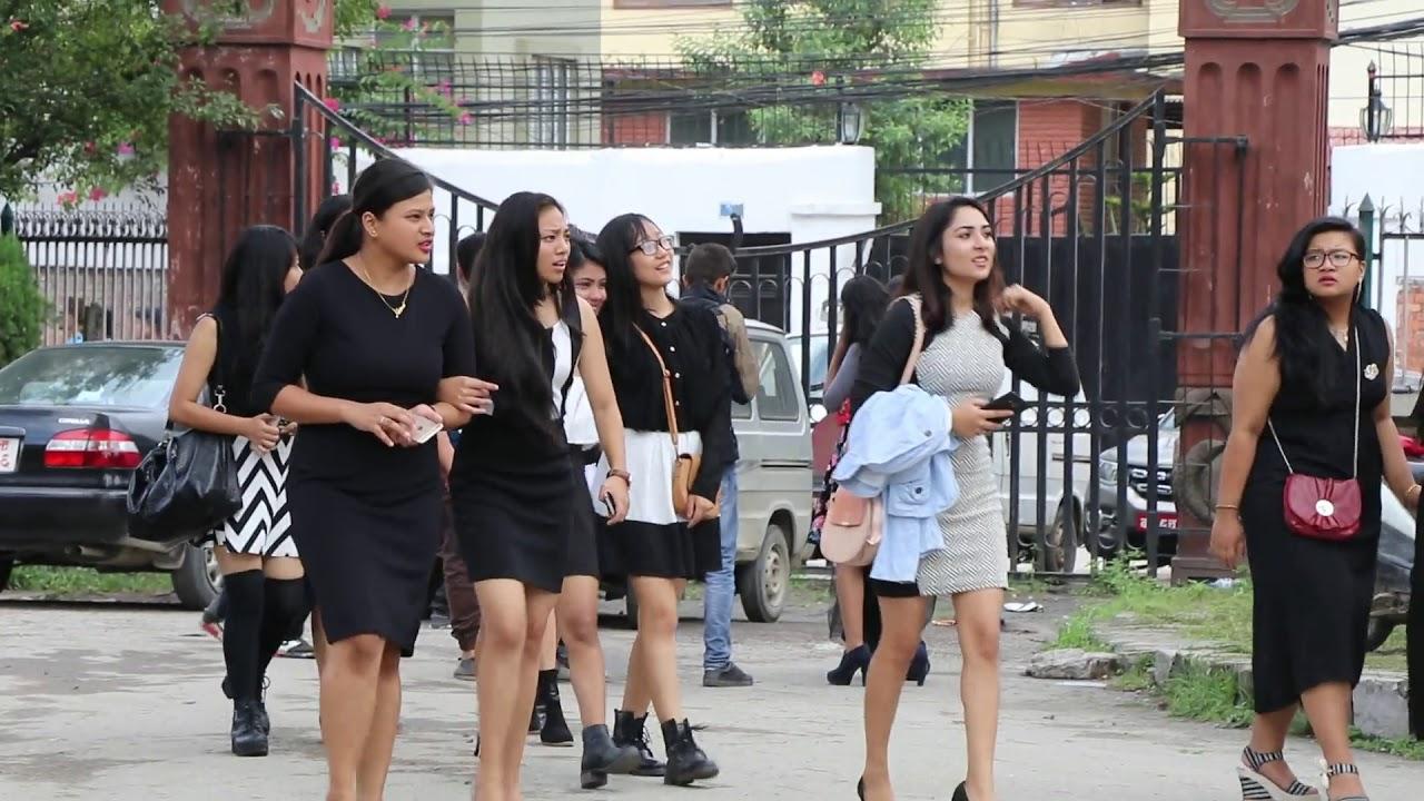 नेपाली कलेज गर्ल    Nepali collage girls in Pragya Bhawan Kamaladi    OnlineHarpal