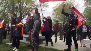 Antifa DUMBER AND DUMBER crying about Russia While Waving  Soviet-Russia communist flag