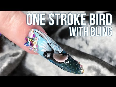One Stroke Bird With Bling - Step By Step Tutorial