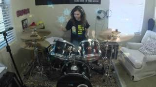 "Muse ""Hysteria"" a drum cover by Emily"