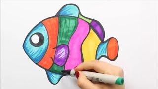 كيفية رسم سمكة ملونة  تعلم الرسم - تعلم الألوان - تعلم الحيوانات - تعلم اللغة الإنجليزية
