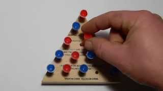 CRACKER BARREL GAME STRATEGY Triangle Wooden 14 Peg Game - Jump All But One