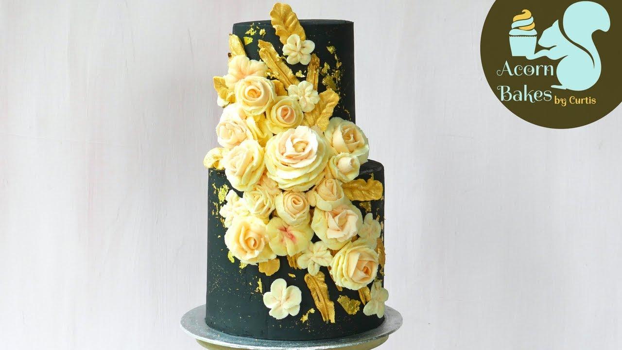 BLACK, GOLD & ROSE BUTTERCREAM FLOWER CAKE | Cake Tutorial | - YouTube