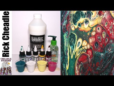 247. Paint Pouring with Liquitex Pouring Medium, GOLDEN Fluid Acrylics and Fructis Sleek & Shine