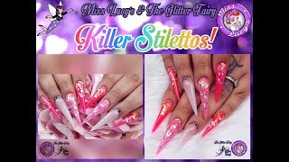 💗Acrylic Nails💕Stiletto👠Neon Pink💗Glitter💕HD Pro Systems👠Sculpted💗