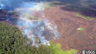 Video of a brief aerial overview of activity at the flow front