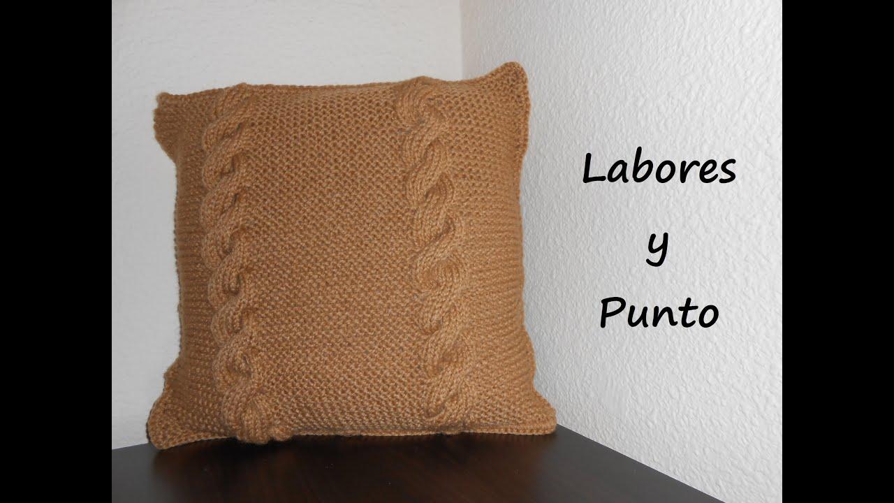Aprende a tejer un cojin o almohada en dos agujas parte 2 - Labores punto dos agujas ...
