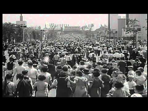 """Scenes of Chicago """"Century of Progress"""" World's Fair. Gardens, aerial tramway, ma...HD Stock Footage"""