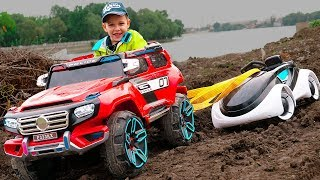 Car Stuck in the mud Tema towing car and ride on toy cars