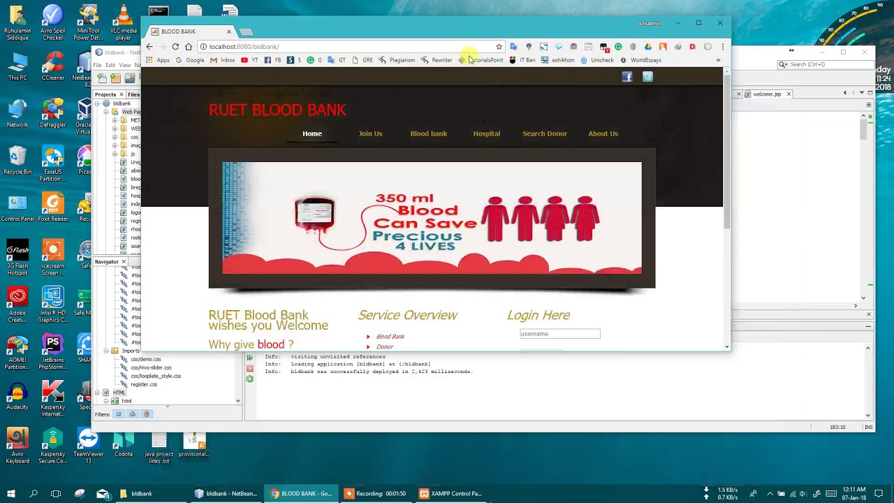 JAVA web Project (RUET blood bank ) using jsp, html and css with source code