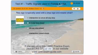 Florida DHSMV Learner Driving License Test #1 (Part 1) - Practice Exam - Traffic Signals