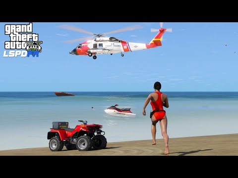 GTA 5 LSPDFR Coastal Callouts Baywatch Edition | Life Guard & Coast Guard Rescues 3 Drowning Victims