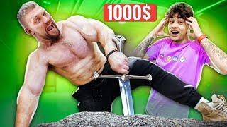 Самый СИЛЬНЫЙ Человек В МИРЕ vs МЕЧ В КАМНЕ с 1000$