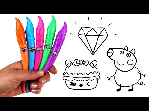 Drawing & Painting with QOLOR Paint & Surprise Toys George Peppa Pig Mashems Moana Num Noms Moj Moj