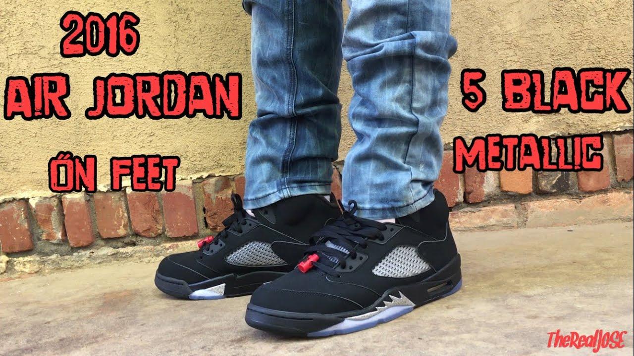 info for 67db0 74e8e 2016 Air Jordan 5 Black Metallic on Feet