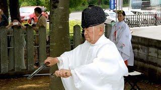 奈良)高橋神社で「庖刀の儀」、76歳夏目宮司が初挑戦