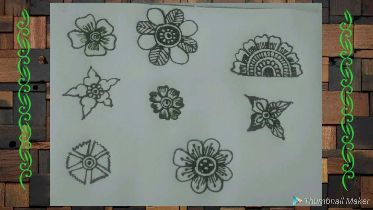 How To Draw Mehndi Designs On Paper Step By Step Basic Flower