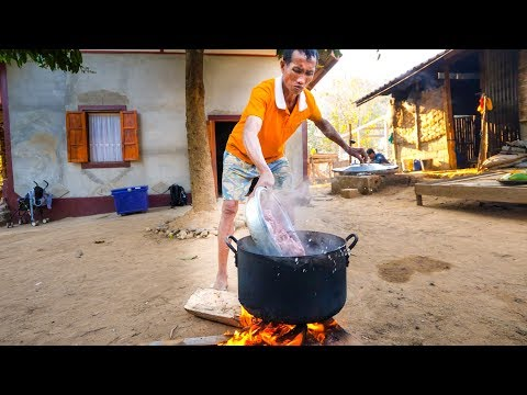 Village Food in Laos - SPICY CHILI WOOD and AUTHENTIC KHMU FOOD in Luang Prabang!