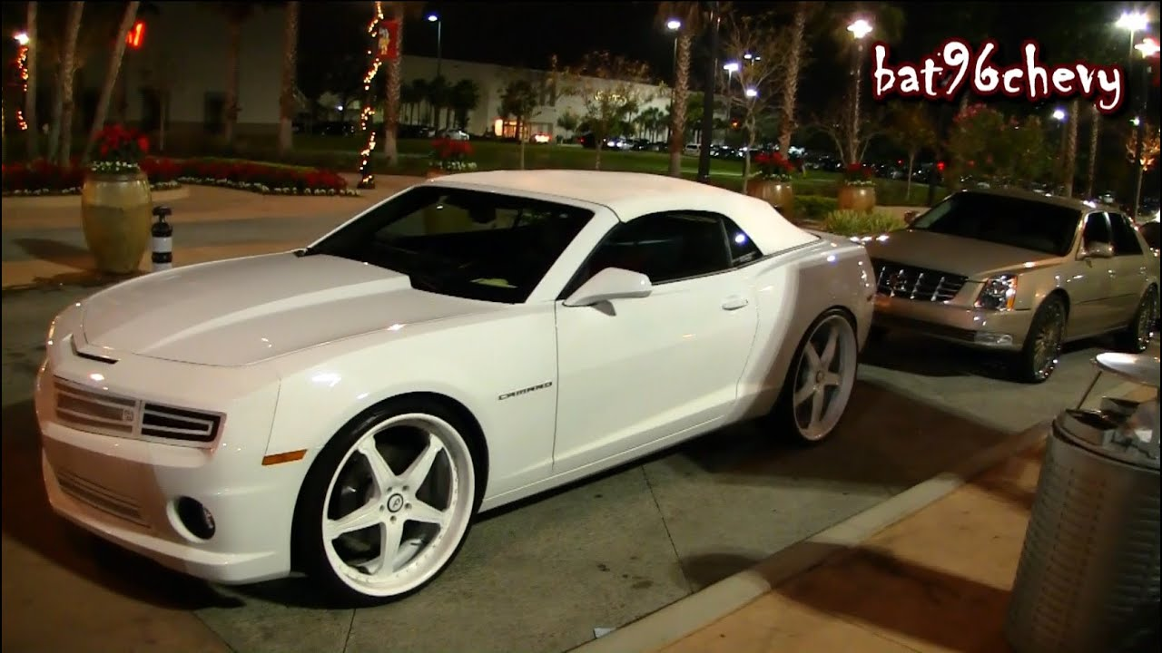 "ALL WHITE 2012 Camaro SS Convertible on 24""/26"" Forgiatos ..."