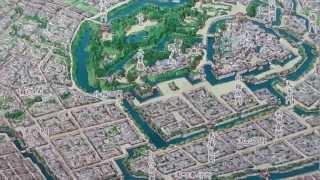 手描きによる、再現「幕末江戸パノラマ絵地図」(End of Edo era,Edo city)※handwriting