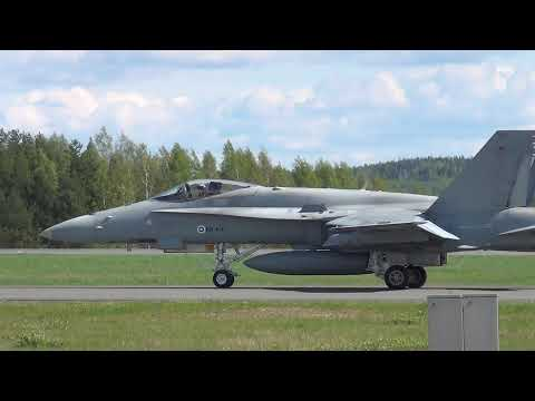 Finnish Air Force McDonnell Douglas F/A-18 Hornet takeoff at Kuopio Airport