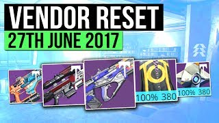 Destiny   WEEKLY VENDOR RESET! - Best Vendor Weapons & All 100% Stat Roll Armor! (27th June)